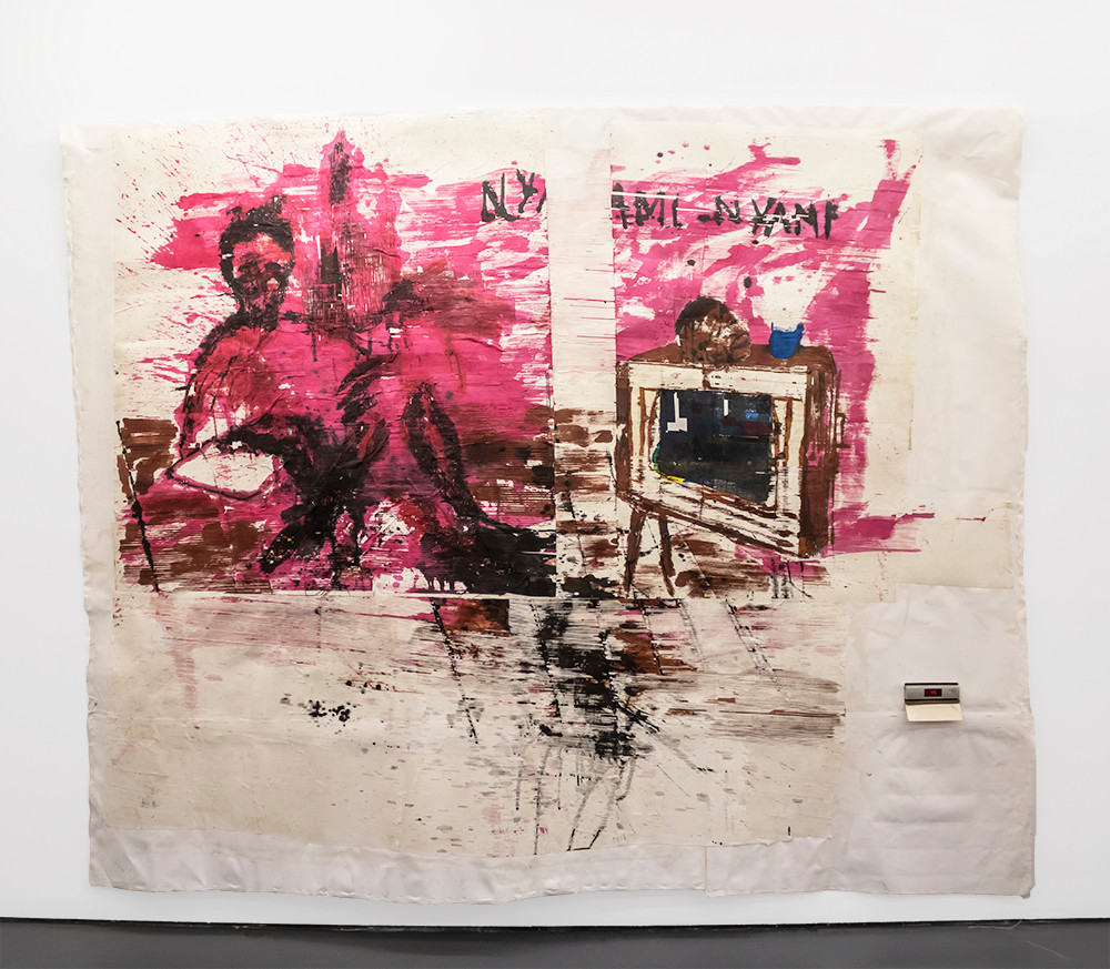 Gareth Nyandoro | Revolution will be televised | 2019 | Ink on Paper Mounted on Canvas | 215 x 267 cm
