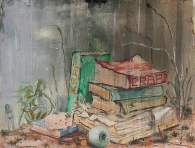 Nigel Cooke | Study for Translators | 2013 | Charcoal and Watercolour on Paper | 28 x 38 cm