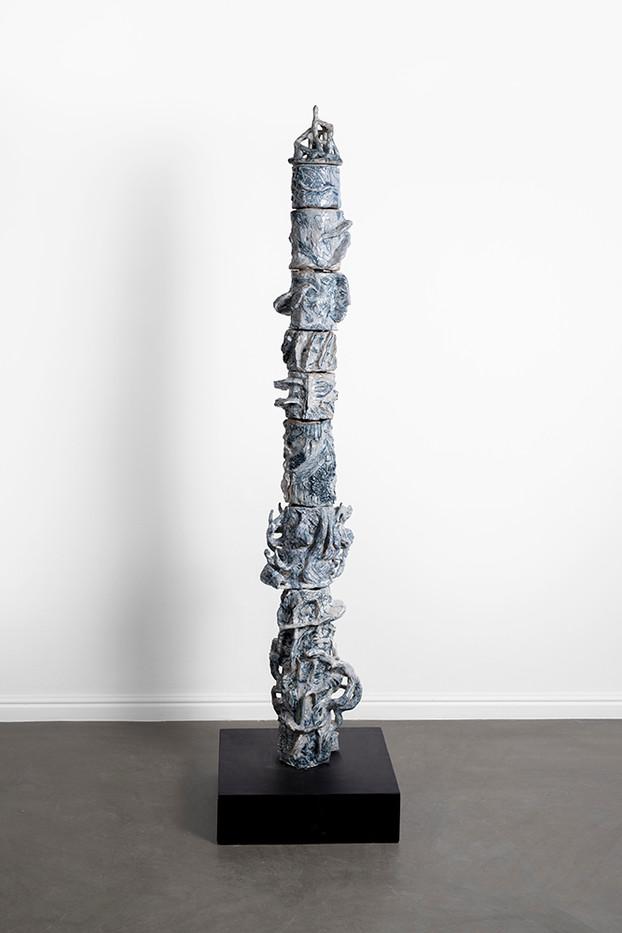 Marlene Steyn, Abraham Kritzman & Angels Miralda Tena   Vertigo where to go (falco)   2018   Painted Ceramic   126 x 24 x 25 cm