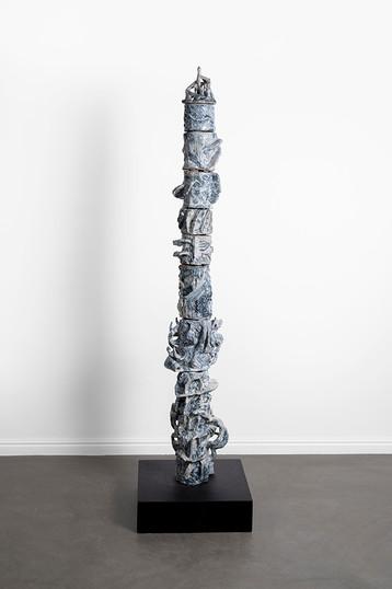 Marlene Steyn, Abraham Kritzman & Angels Miralda Tena | Vertigo where to go (falco) | 2018 | Painted Ceramic | 126 x 24 x 25 cm