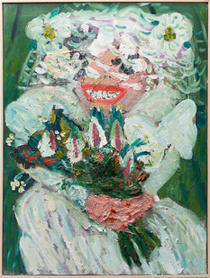 Georgina Gratrix | Bride Dressed as Cake | 2017 | Oil on Canvas | 100 x 75 cm