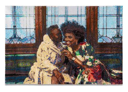 Frances Goodman | The Gossip | 2020 | Hand-Stitched Sequins on Canvas | 92 x 141 x 7 cm