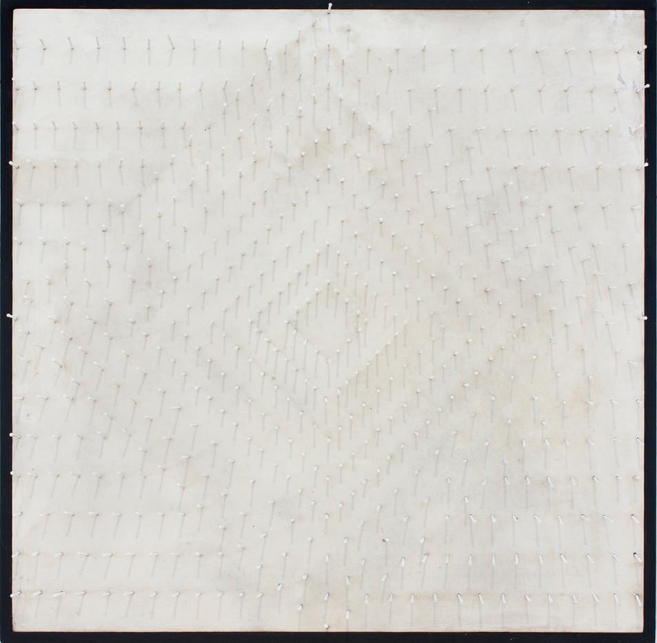 Eddie Ladan | Untitled | 1968 | Painted Nails on Cloth Board | 61 x 61 cm