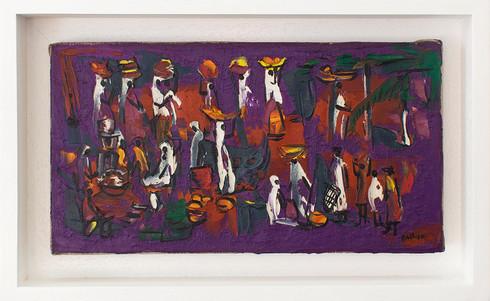 Walter Battiss | Untitled | n.d. | Oil on Canvas | 15 x 30 cm