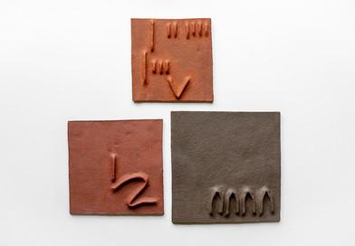 Pyda Nyariri   Pidgin Tile Set 2   2019   Fired Earthenware Clay   Dimensions Variable