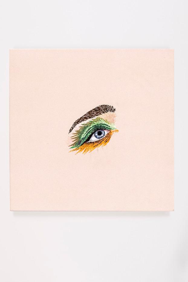 Frances Goodman | My Sharona | 2018 | Hand-Stitched Embroidery on Satin | 45 x 45 cm