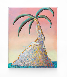 Marlene Steyn   a tall atoll   2020   Acrylic on Linen   50 x 41 cm