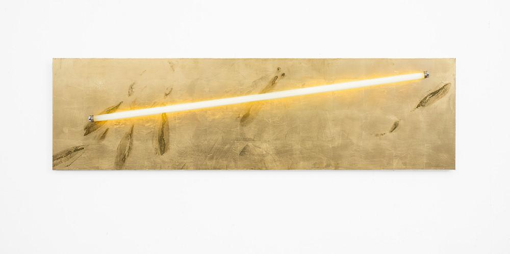 Pierre Vermeulen | Sweat print no. 1, light panel | 2018 | Sweat, Gold Leaf Imitate, Shellac and Light Bulb on Aluminium | 50 x 180 cm