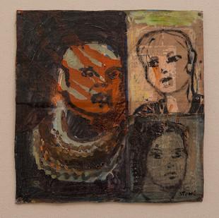 Simon Stone   The Suburb (3 Face Glaze Experiment)   2016   Oil on Cardboard   33 x 31 cm