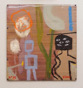 Simon Stone   Six Eyes   2016   Oil on Cardboard   36 x 33 cm