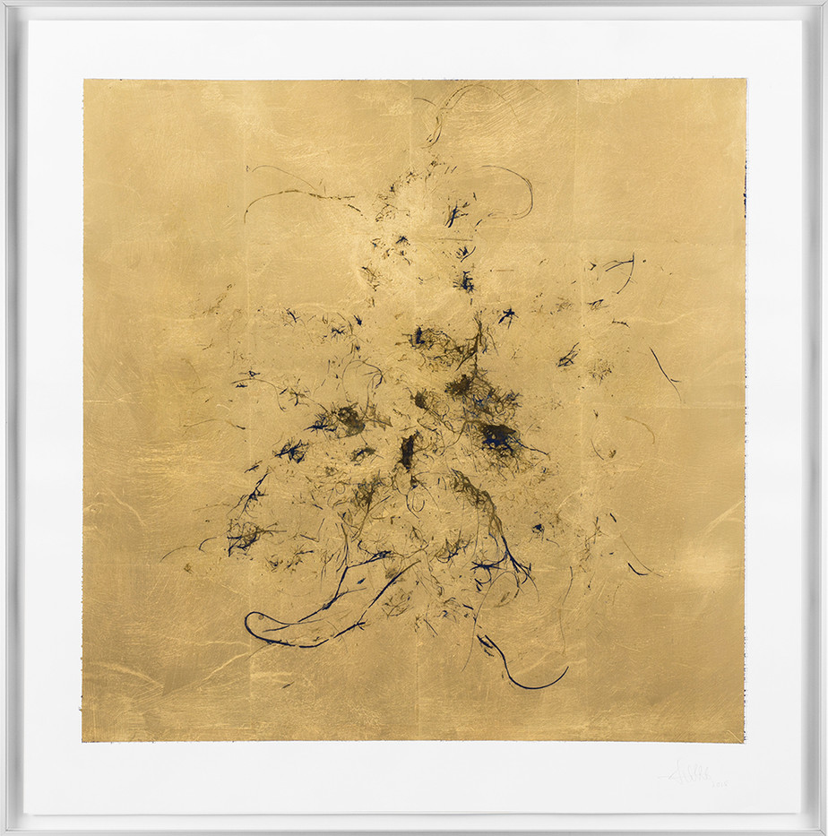 Pierre Vermeulen | Macro hair orchid sweat print, pink layer | 2018 | Sweat, Gold Leaf Imitate, Shellac and Acrylic on Stone Paper | 66 x 65.5 cm