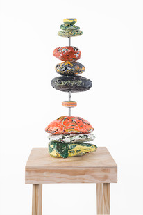 Gabrielle Kruger | Paintiglomerates I | 2019 | Acrylic Paint Rocks and Steel | 47 x 18 x 18 cm