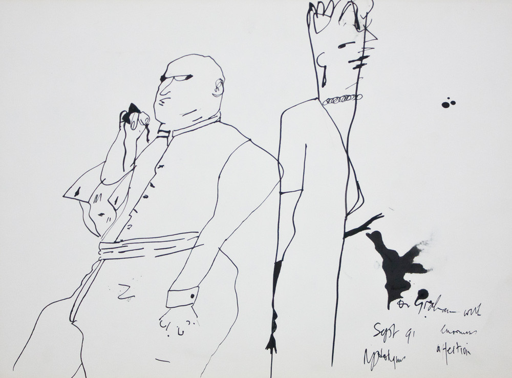 Robert Hodgins | The Desultory Couple | 1991 | Ink on Paper | 29 x 40 cm