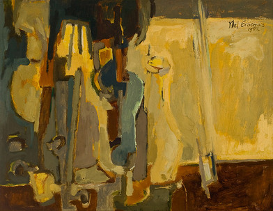 Nel Erasmus | Music and Wine | 1964 | Oil on Board | 44.5 x 57 cm