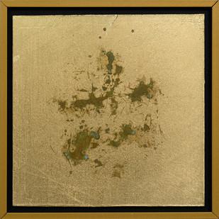 Pierre Vermeulen | 1|1 Hair Orchid Print nr.2 | 2017 | Gold Leaf Imitate on Aluminium, Sweat | 14.3 x 14.3 cm