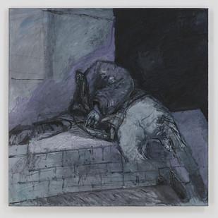 Albert Adams | Sleeping Man at Rondebosch Fountain | 2006 | Oil on Canvas | 153 x 153 cm