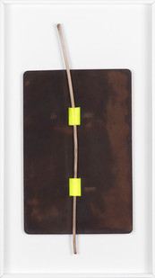 Ruann Coleman | Drawing 21 | 2017 | Leather, Strap and Found Twig | 40 x 22.5 cm
