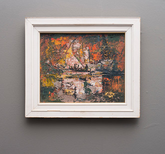 Walter Battiss | Figures On A Boat | n.d. | Oil on Board | 12 x 15 cm