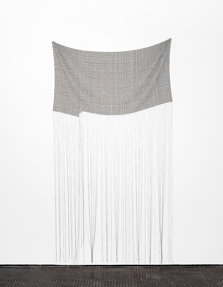 "Bonolo Kavula | ""Sewedi"" | 2020 | Acrylic, Punched Canvas, Thread | 208 x 110 cm"