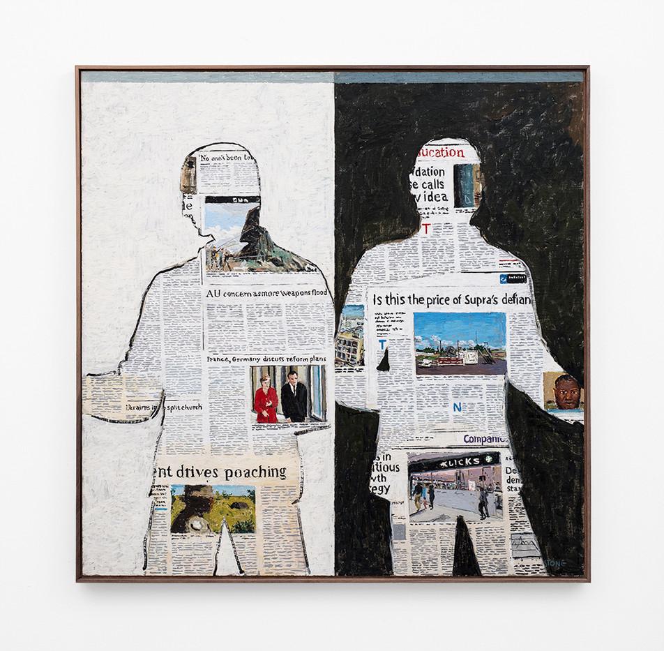 Simon Stone | Newspaper Men | 2018 | Encaustic on Board | 102 x 103 cm