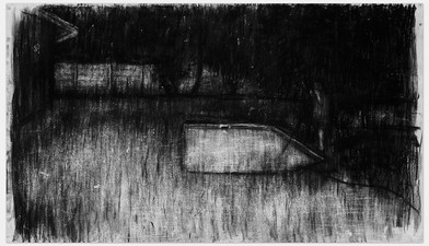 Johann Louw | Swembad | 2014 | Charcoal on Paper | 125 x 188 cm