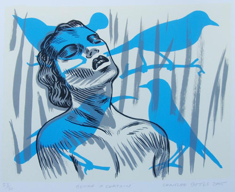 Conrad Botes | Behind a Curtain | 2005 | Lithograph | 24.5 x 30 cm | Edition of 30