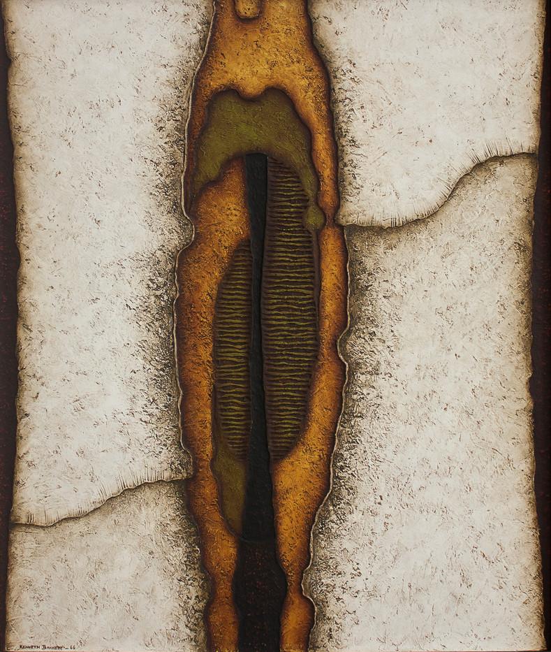 Kenneth Bakker | Geostructure | 1966 | Mixed Media on Board | 91 x 76 cm