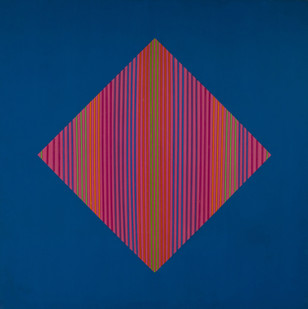Trevor Coleman | Spacial | 1971 | Acrylic and Wooden Strips on Canvas | 122 x 122 cm