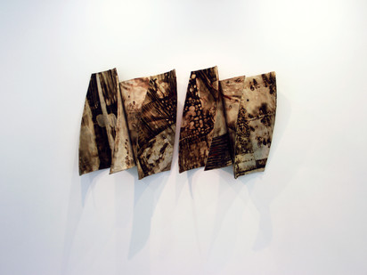 Sandile Zulu | Shards of the Delta II | 2014 | Fire, Water, Air, Earth, Canvas, Hardboard | 92 x 162 x 45 cm