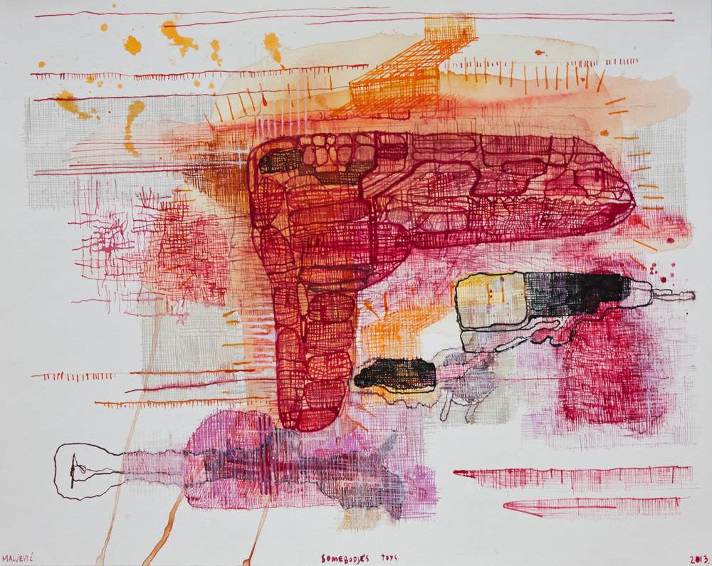 Maja Maljevic | Somebody's Toys | 2013 | Mixed Media on Paper | 35 x 43 cm