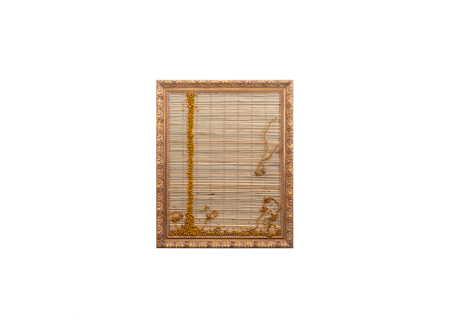 Simphiwe Buthelezi | Wangithelela uju (She poured me honey I) | 2019 | Straw Mat, Beadwork in Gilded Frame | 53 x 55 cm