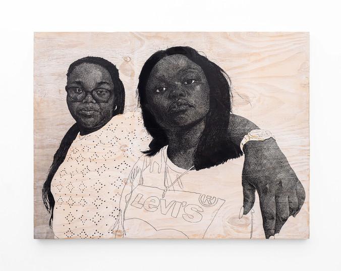 Luyanda Zindela   Ingabe usuqedile   2020   Acrylic Paint Marker & Graphite on Pine Board   100 x 120 cm