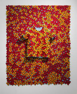 Jody Paulsen | The Cruiser (Red) | 2016 | Felt Collage | 185 x 149 cm