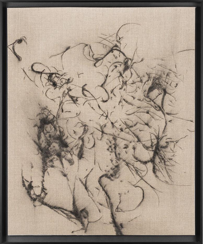 Pierre Vermeulen | Hair orchid sweat print drawing II | 2018 | Charcoal on Belgian Linen | 56 x 46 cm
