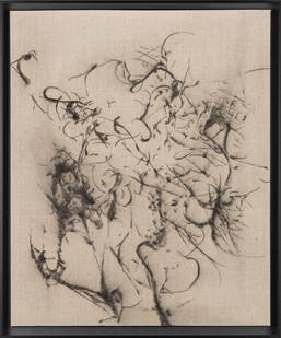Pierre Vermeulen   Hair orchid sweat print drawing II   2018   Charcoal on Belgian Linen   56 x 46 cm