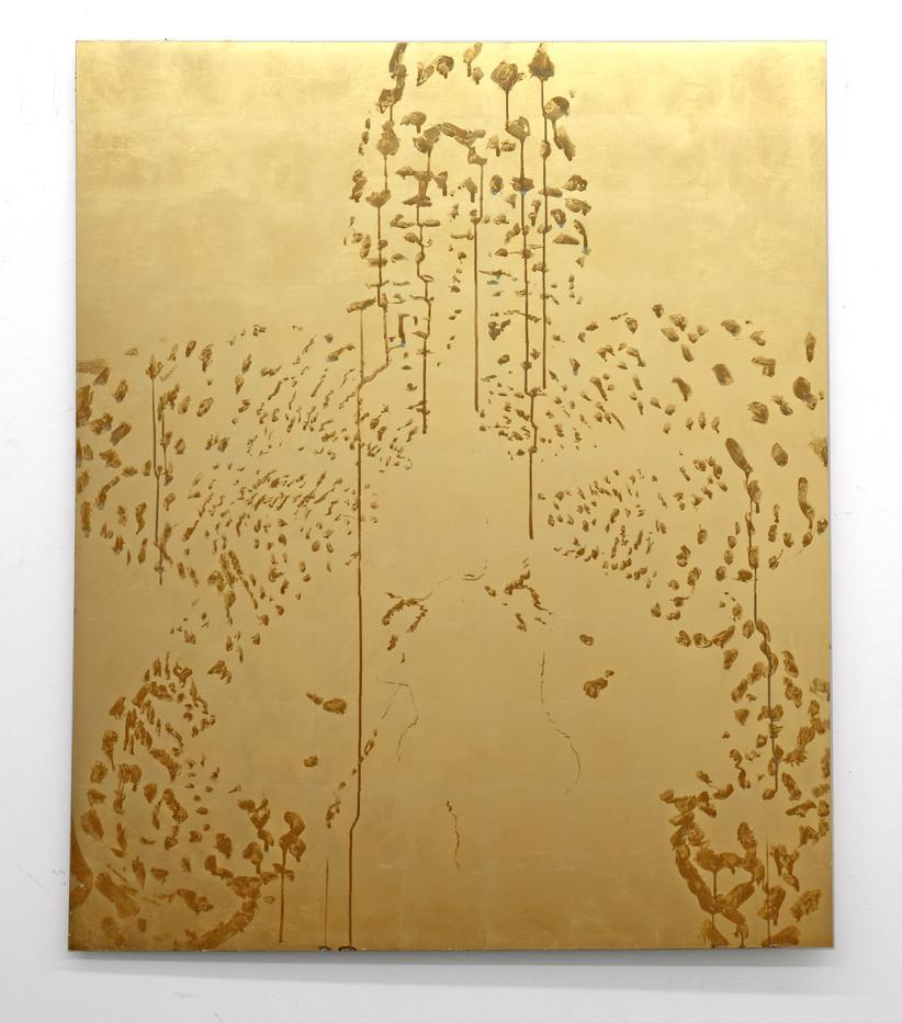 Pierre Vermeulen | Orchid Study in Sweat nr. 8 | 2017 | Gold Leaf Imitate on Aluminium, Sweat | 150 x 124 cm