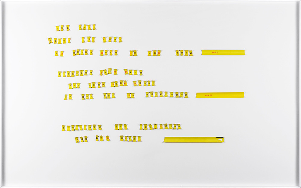Ruann Coleman   Cipher Poem III   2017   Measuring Tapes   79 x 120 cm