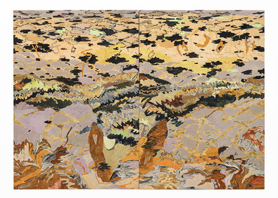 Jeanne Gaigher | Soft Earth | 2019 | Diptych | Acrylic, Dye, Soft Pastel, Oil Pastel on Canvas | 152 x 106 x 5 cm Each