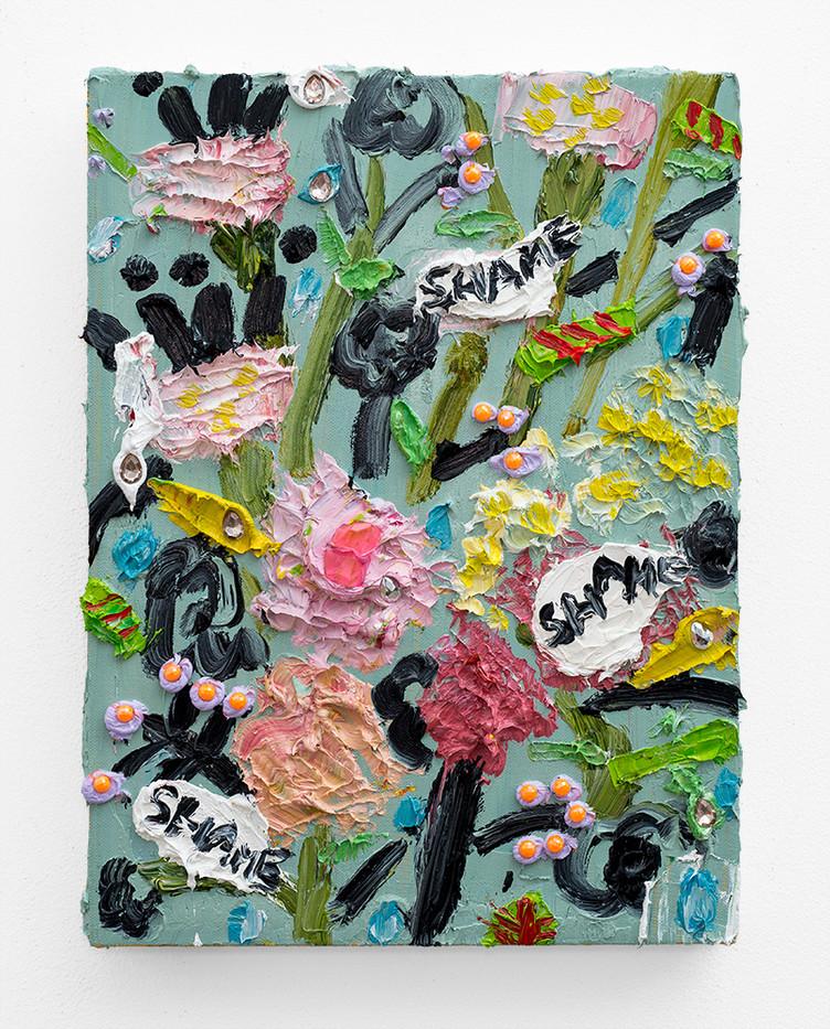 Georgina Gratrix | Sympathetic Wrapping Paper | 2018 | Oil on Canvas | 40 x 30 cm