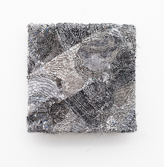Galia Gluckman | the shift (2) | 2020 | Construction with Canvas Textured Paper, Acrylic, Balsa Wood, Angel Hair and Bonding Tape on Board | 26 x 26 cm