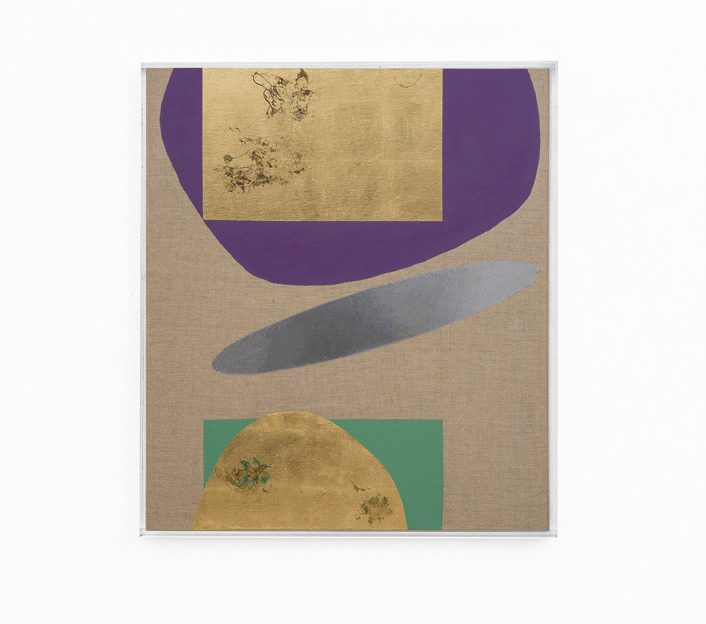 Pierre Vermeulen | Hair orchid sweat print, violet and green with mirror pool | 2018 | Sweat, Gold Leaf Imitate, Shellac and Acrylic on Belgian Linen | 104.5 x 90 cm