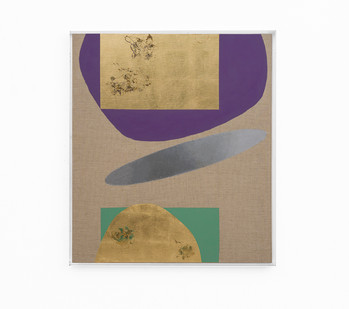 Pierre Vermeulen   Hair orchid sweat print, violet and green with mirror pool   2018   Sweat, Gold Leaf Imitate, Shellac and Acrylic on Belgian Linen   104.5 x 90 cm