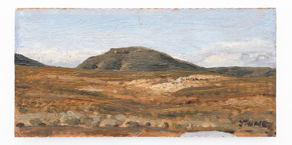 Simon Stone | Near Matjiesfontein Friday Afternoon | 2019 | Oil on Cardboard | 14.5 x 29 cm