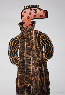 Colbert Mashile | Leloko VII | 2014 | Watercolour and Bleach on Paper | 63 x 45 cm