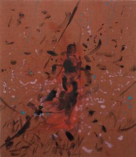 Peter Eastman | Figure in a Landscape III | 2015 | Distemper and Oil on Linen | 40 x 35 cm