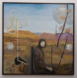 Simon Stone   Man In Karoo   2016   Oil on Board   78 x 78 cm