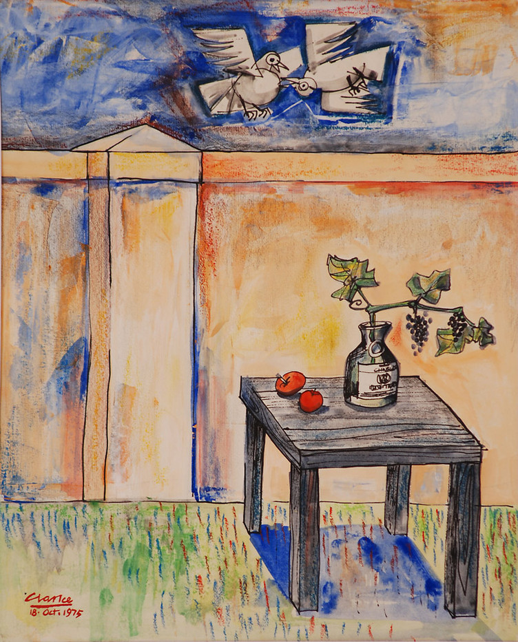 Peter Clarke | Birds Fighting | 1975 | Gouache on Paper | 41.5 x 34 cm