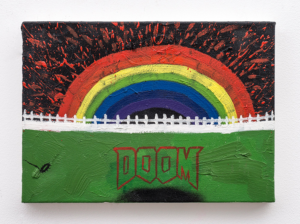 Callan Grecia | The Doom Painting | 2018 | Oil on Canvas, Spraypaint | 50 x 35 cm