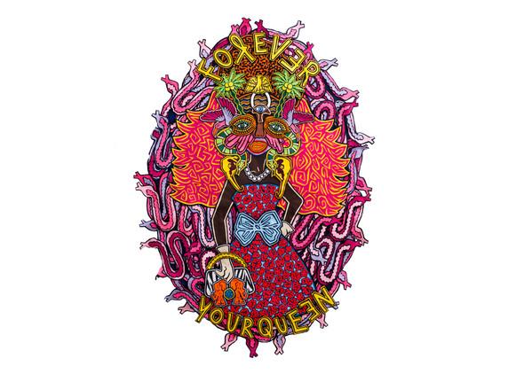Jody Paulsen   Forever Your Queen   2018   Felt Collage   206 x 145 cm