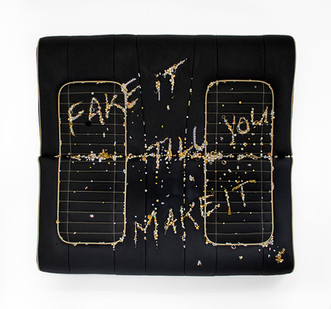Frances Goodman | Fake it till you make it | 2019 | Leather, Foam, Earrings, Diamanté's, Fake Pearls, Plastic, Chains | 122 x 116 x 10 cm